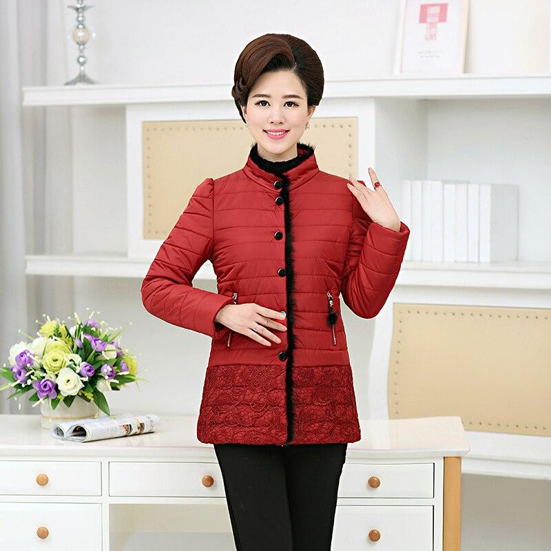 plus size Mink hair Lace Single Breasted women winter parka 2017 fashion ladies slim jackets female casual solid black red 4XLÎäåæäà è àêñåññóàðû<br><br>