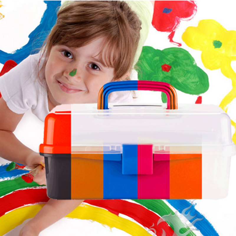 13 inch New material childrens art box art box three painting toolbox transparent box storage<br><br>Aliexpress