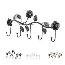 Work well Wall Hanger Hooks Rose Leaves Metal Over Door Kitchen Bathroom Coat Holder