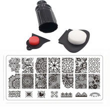 4PCS 12x6cm BC Nail Art Template Set Squishy Flowers Design Stencils For Nail Nail Polish Stamping+Stamp+Scraper Diagnostic Tool(China)