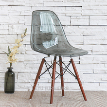 Modern Design Transparent Plastic Seat Walnut Color Solid Wooden Leg Base Dining Side Chair Wood Legs Modern Furniture Chair