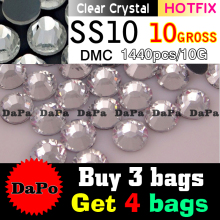 1440pieces SS10 2.8MM Clear Crystal Color DMC Hotfix Flatback Rhinestones, DIY Heat Iron Hot Fix Glass Crystals Stones Glitters