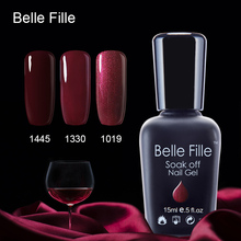 Belle Fille Wine Red Gel Nail Polish For Party Makeup Soak Off Varnish Need LED Lamp Red Color Wine Charm Gel Nail Polish(China)