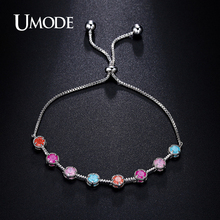 UMODE Vivid Rare Round Colorful Ice Cream CZ Cubic Zirconia White Gold Color Chain Tennis Bracelet Christmas Jewelry UB0081B