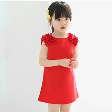 2017 New Spring Summer Kids Dresses Summer Sleeveless Flower Shoulder Princess Dress Baby Girl Birthday Dresses Baby Dresses