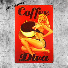Coffee diva service vintage tin sign pin up poster coffee art wall sticker shabby chic home decor(China)
