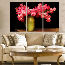 Wall Art Poster Home Decor Canvas HD Prints Pictures 3 Pieces Beautiful Pink Red Flowers On Vase Paintings Living Room Framework(China)