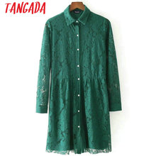 Tangada Autumn Winter Fashion Green Floral Pleated Lace Dress Long Sleeve Party Dresses Ukraine Ladies Vintage Mini Vestidos BE5(China)