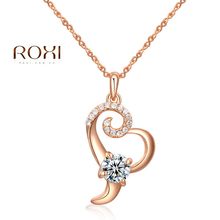 10pcs/lot 2017 ROXI Big Promotion Long Necklace Crystal Rose Gold Color Cute Zircon Charms Chains Necklace Colar Bridal Gift(China)