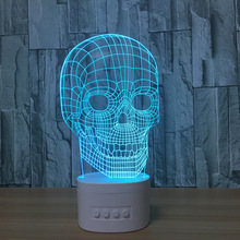 Star Wars Skull 3d Night Lamp Indoor Cute Bluetooth Speaker Usb Music Night Light Bedside Lampara With Color Changeable Gift