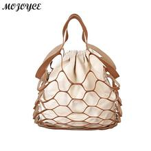 Buy Fashion Hollow Mesh Design Women Handbags Holiday Tote Canvas Lady Summer Beach Bags Net Casual Shopping Bag String Bucket for $10.55 in AliExpress store