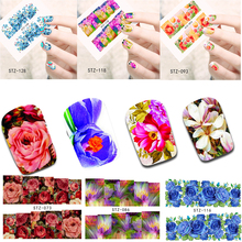 50 Sheets Nail Art Flower Water Sticker Nails Beauty Wraps Foil Polish Decals Temporary Tattoos DIY Nail Decoration TRSTZ086-133