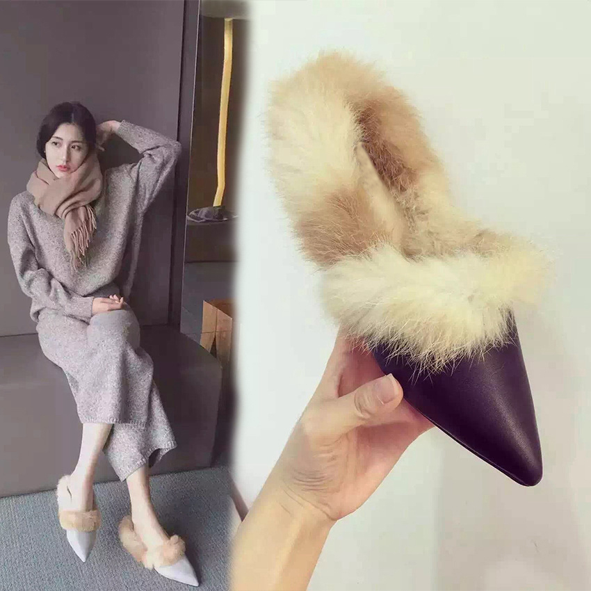 AVVVXBW 2017 Winter Women Flats Shoes Real Rabbit Fur Shoes Woman Fashion Thickening Warm Slippers Womens Shoes Casual Loafers<br>