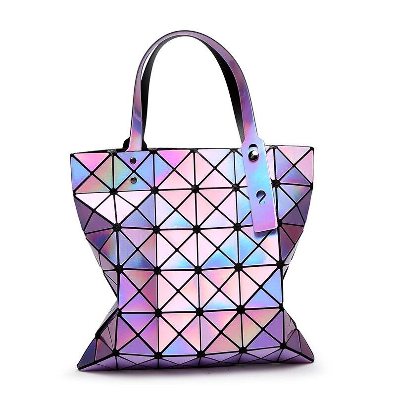 Famous Brands Women Laser Bright BaoBao Tote Lady Geometry Diamond Lattice Sequins Fold Over Pearl Bao Bao Bag Hologram Handbags<br>