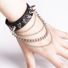 New Punk Style Spike Charm Bracelet Metal Rivet Wristbands Bracelet Jewelry  Man PU Leather Charm Bracelet  KQS