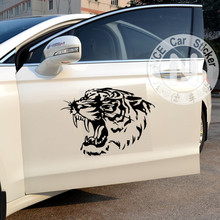 Car Stickers Tiger Head Roaring Creative Decals For Doors Auto Tuning Styling Waterproof Duad 34*24cm & 50*36cm D20(China)