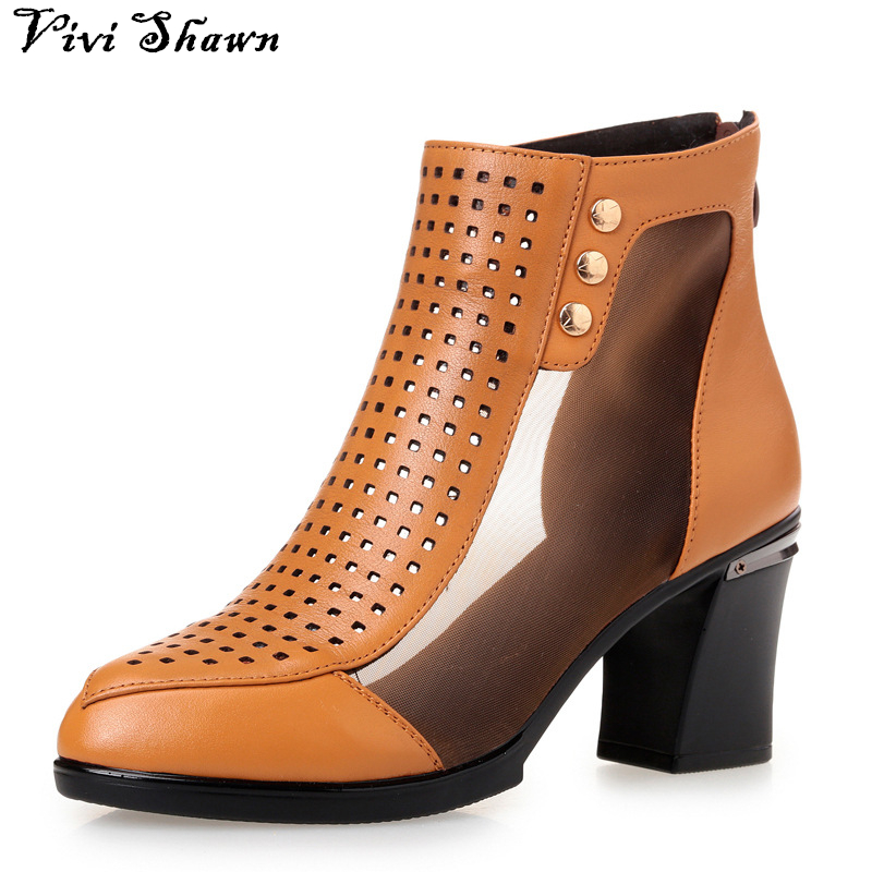 2017 Spring New High Quality Genuine Leather Women Ankle Boots Hollow out Lace Square Heel Summer Boots Female Shoes Hot Sale<br><br>Aliexpress