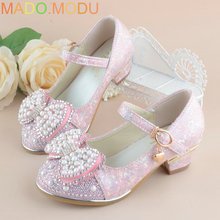 Summer 2017 New Children Princess Sandals Kids Girls Wedding Shoes High Heels Dress Shoes Party Shoes For Girls Leather Bowtie(China)