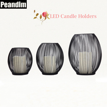 Peandim 3 Pieces Black Iron Candle Holder With LED Light Mediterranean Iron Birdcage Candlestick Home lantern Candle Holder