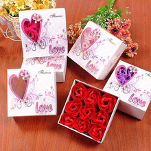 Handmade 9 Pcs A Set Rose Flower Soap Bathing Soap Wedding Rose Petals With Gift Box Mother's Day Valentine's Day Romantic Gift(China)