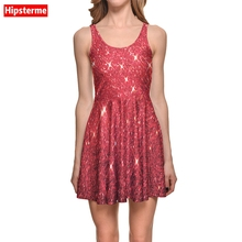 Hipsterme New Arrival Summer Women's Dress Red Star shining Galaxy  Dresses 3D Print Plus Size women clothing Vestido