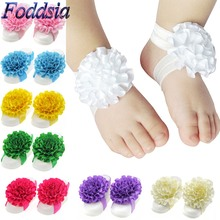 Foddsia Newborn First Walkers Flower Barefoot Shoes Girl Elastic Satin Feet Decor Headband Jewelry Photography Props CH105