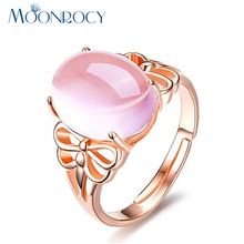 MOONROCY Free Shipping Rose Gold Color Cute Butterfly Ross Quartz Crystal Pink Opal Ring Jewelry Wholesale for Women Girls