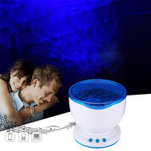 Night Light Projector Ocean Blue Sea Waves Projection Lamp With Mini Speaker LED Starry Ocean Wave Projector IY304114-2(China)