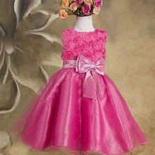 High Quality Factory Price! New 1pc Girls Dress Baby Children Purple Pink Rose Chiffon Princess Dresses