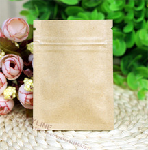 100pcs/lot- 6*8cm mini size Zipper top seal Kraft Paper Bag with Aluminum foil coated inner Powder Seasoning Sugar Tea bags