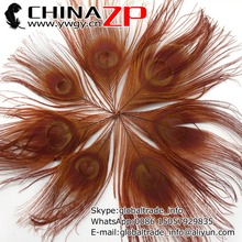 CHINAZP Factory 100pcs/lot Size 10-12cm Top Quality Natural Dyed Brown Trimmed Peacock Feathers DIY Decorations(China)