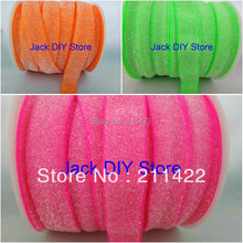 "10yards5/8"" Frosted Neon Pink Glitter Elastic for DIY headband Hair Accessories"