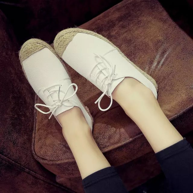2016 the new spring and summer in Europe and the fisherman flat shoes lace-up shoes white straw loafers female leisure list<br><br>Aliexpress