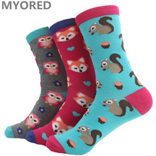 MYORED cartoon squirrel fox owl cute lovely animal cotton short socks women girls lady female crew sock candy color winter(China)