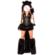 Abbille 2018 Animal Black Cat Women Sexy Costume Faux Fur Catsiut Party Fancy Dress Hat+Top+Skirt+Gloves+Foot cover Cosplay New(China)