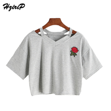 HziriP 2017 New Summer 8 Colors Vintage Ladies Sexy Rose Floral Embroidered Short Tops Women Belly Shown T Shirt Female V Neck(China)