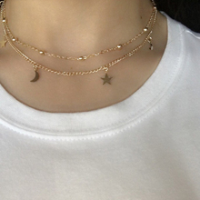 Layered Gold Choker Necklace/Moon Stars Gold Necklace/Multistrand Necklace/Gift XL406(China)