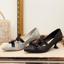 European brand design pointed toe bling wedding pumps women silk bow-knot  cat heels single · 2 Colors Available 4aa69f6f961f