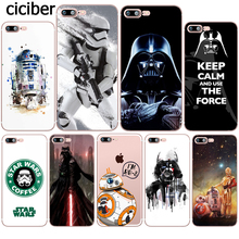 Buy R2D2 BB8 Star Wars Darth Vader Stormtrooper Cartoon Silicone Soft Clear TPU Case Fundas iphone 7 8 6 6S PLUS X 5S SE 5 Cover for $1.75 in AliExpress store