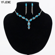 YFJEWE Luxury Austria Crystal Earrings Necklaces & Pendants Jewelry Sets Women Fashion Jewelry Rhinestone Earrings Sets #N100(China)