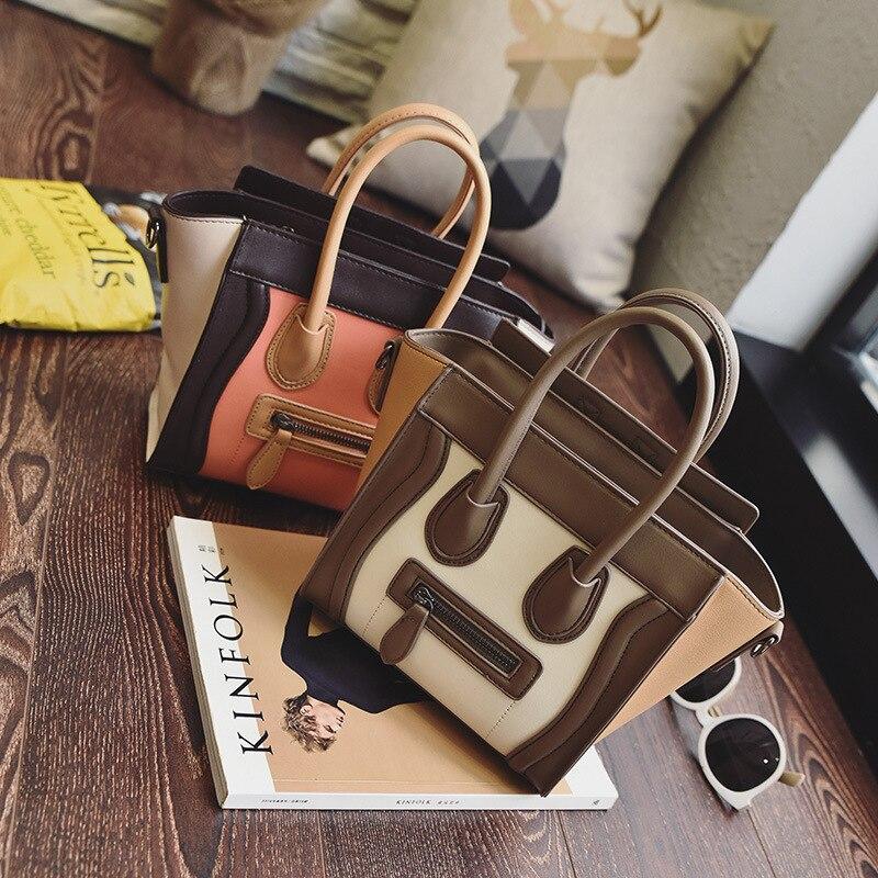 HOT  2016 Trapeze Smiley Tote Bag Luxury Brand Pu Leather Women Handbag Shoulder Bag Famous Designer Crossbody Bags sac a main  <br><br>Aliexpress