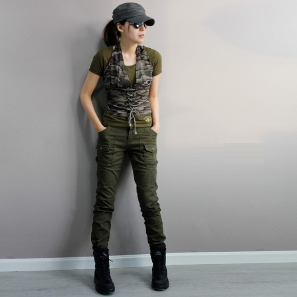Out Door Casual Trousers Slim Army Green Military Pants Women Fatigue Cargo Plus Size Stretch Pantalon Femme In Capris From S Clothing