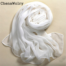Winter Warm Attractive Luxury Fashion Accessories Summer Beach Style 100% Silk Pure White Soft Thin Oblong Scarf Shawl O 26