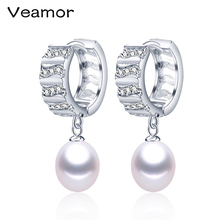 Veamor Hot Selling Silver jewelry 9-10mm Big size 100% real freshwater pearl earrings for women Top quality gift box