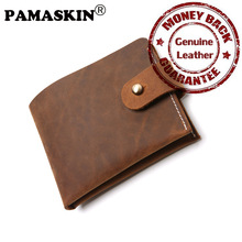 PAMASKIN High Quality Cowhide Leather Hasp Men Credit Card Holders European And American 2017 Retro Card Wallet With PVC Banks(China)
