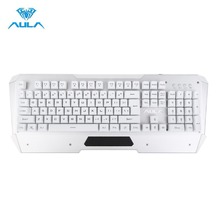 AULA Original Professional Gaming Keyboard Wired USB Mechanical Keyboard 104 Key Metal Panel LED Backlight for Tablet Desktop PC(China)