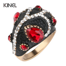 Luxury Vintage Jewelry Black Enamel Ring Color Gold Red Crystal Ring For Women Best Crystal Gift 2017 New
