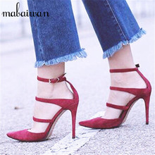 Sexy Red Women Pumps Straps Pointed Toe 10CM High Heels Wedding Dress Shoes Woman Stiletto Gladiator Sandals Valentine Shoe