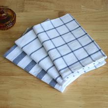 zakka classic blue striped cotton tea towel napkin cover cloth towel rectangular bowl placemat shooting background