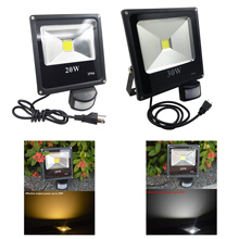 GLW 10W 20W 30W 50W PIR Flood Light IP65 110V 220V Waterproof Ddaylight Led Light Projecteur Led Exterieur Garage Sensor Lamp(China)